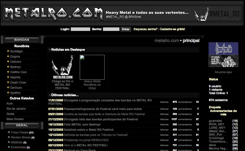 """Portal METAL RO em 2006. Na época ainda usávamos """".com"""". (Créditos: Web Archives)"""