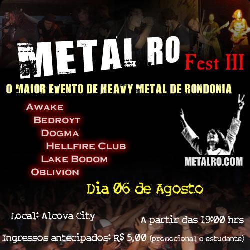Cartaz do METAL RO FEST III em 2005.